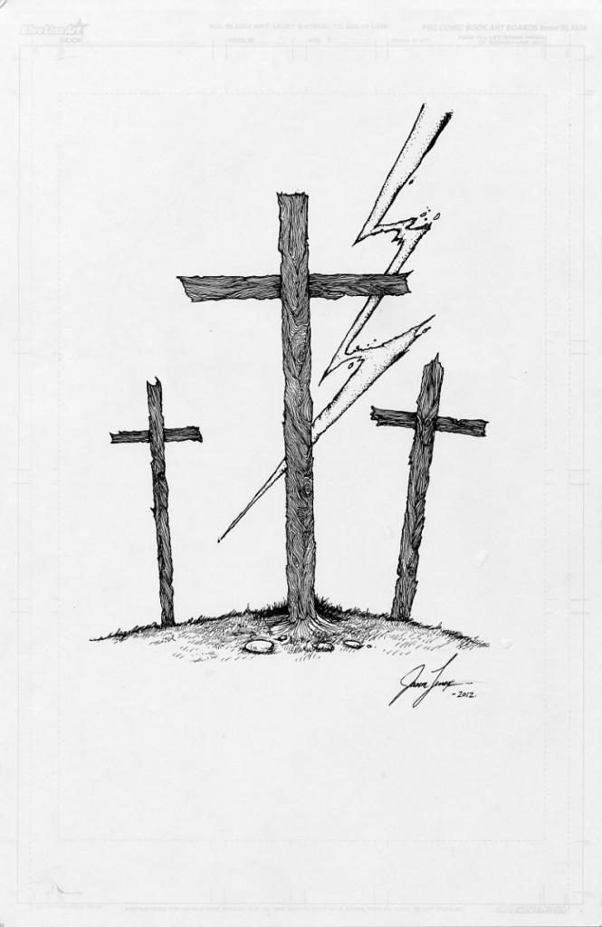 Hill of Crosses Tattoo Three Old Crosses on a Hill