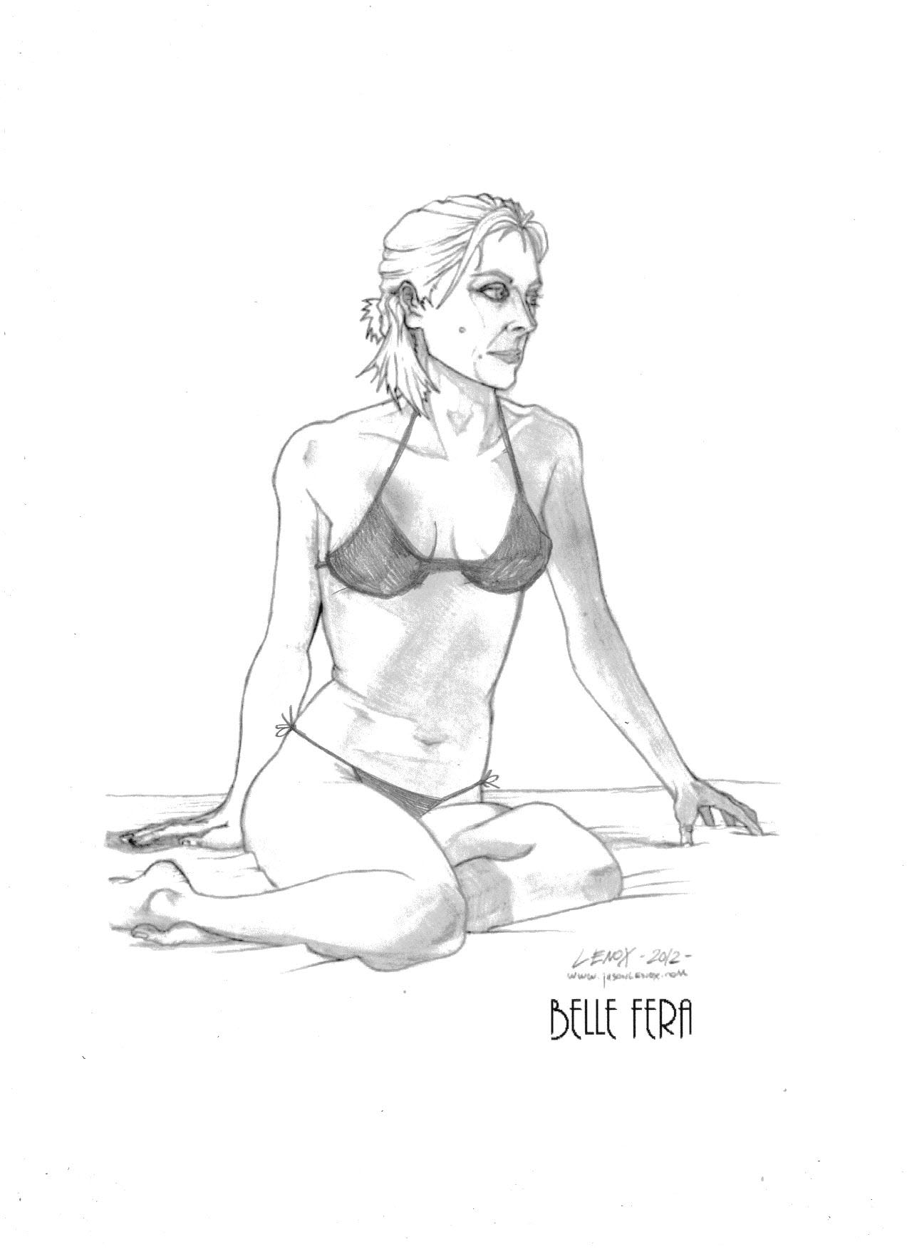 Belle fera models pencil drawing from figure modeling