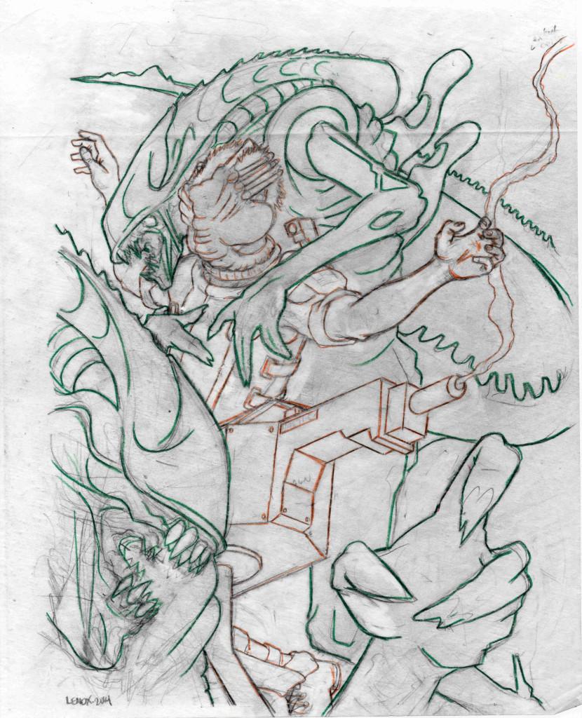 Jason Lenox ALIENS Artwork Progress transfer