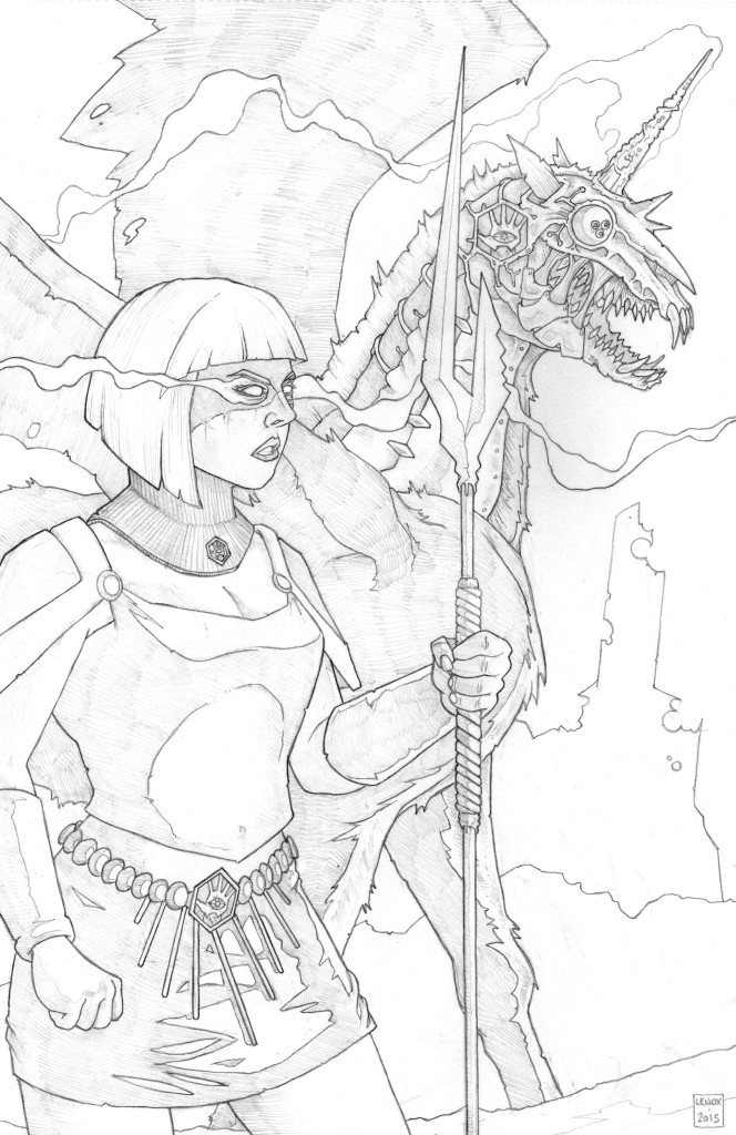 Lords of the Cosmos Obsidia and Cycorn Pinup Jason Lenox