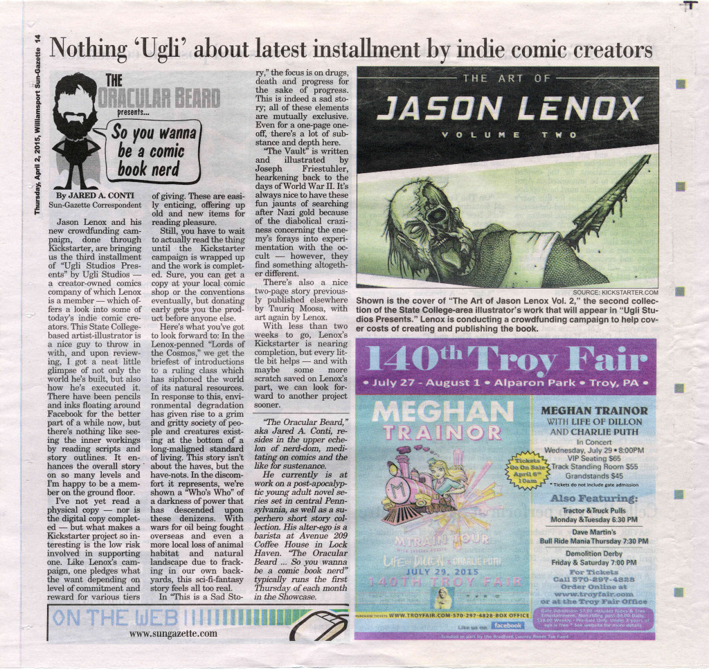 Jason Lenox in the Williamsport Sun Gazette