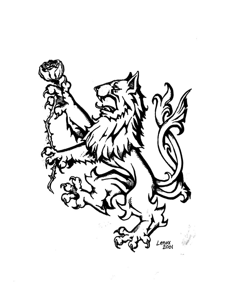 Lion Holding a White Rose